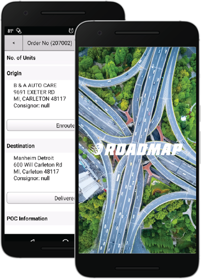 RoadMap App for drive away service tracking